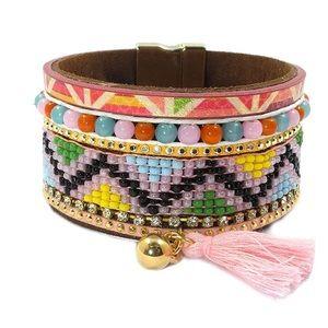 Jewelry - BOGO SALE Beaded Boho Pink Tassel Wrap Bracelet